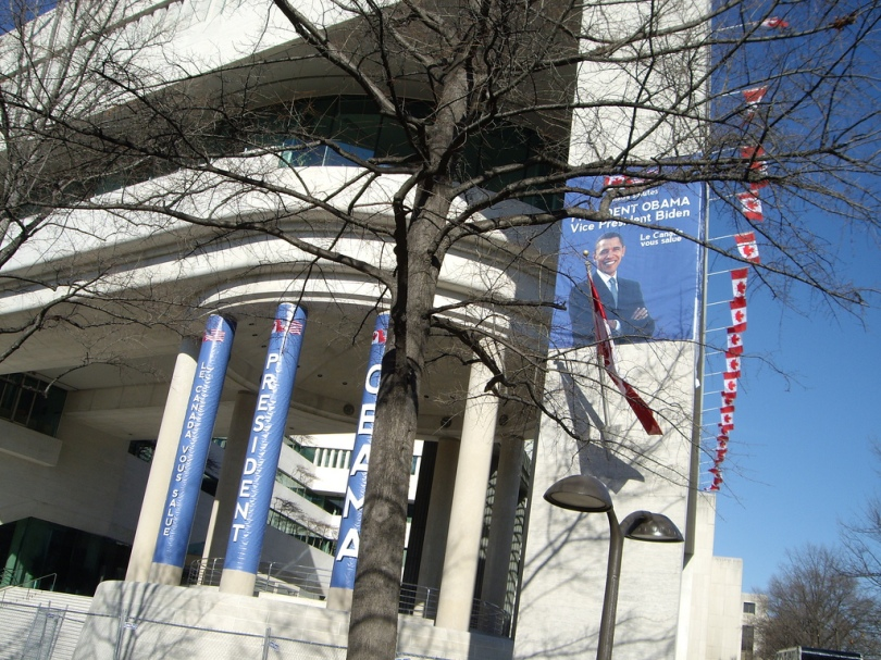 The Canadian Embassy in Washington, DC greets President Obama